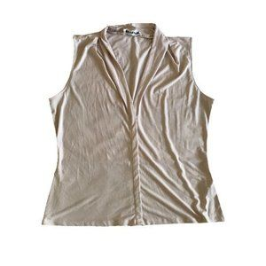 Calvin Klein Beige Nude Sleeveless Collar Top Size L